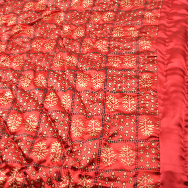 Set of 2 Maroon Jaipuri Silk Razai with Gold Prints