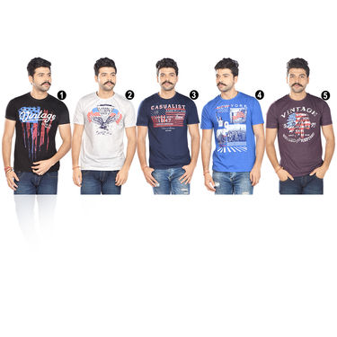 Set of 5 Crew Neck Graphic Print T-shirts for Men