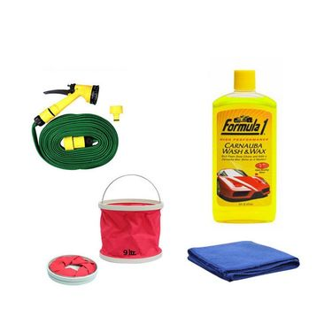 Formula 1 Wash&wax Shampoo-473ml With Water Gun, Abro Microfiber Cloth And Foldable Bucket- Shampoo-2