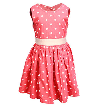 ShopperTree Dotted Frock for Girl - Peach