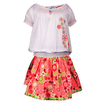 ShopperTree Skirt With Top for Girl - White & Pink