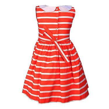 ShopperTree Striped Frock for Girl - Orange