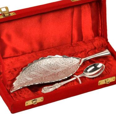 Silver Polished Leaf Shape Brass Freshener Set 267