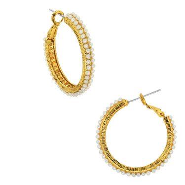 Spargz Pearl Hoop Earrings - White _AIER325