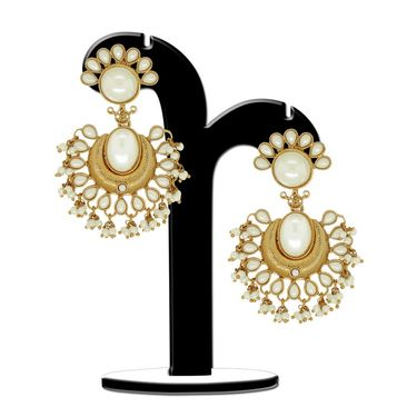 Spargz Chandelier Studded Pear Earrings - White _AIER382