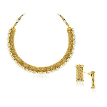 Spargz Sequenced Pearl Necklace Set - Glod & White _ AINS088