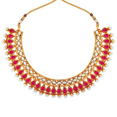 Spargz Gold Finish Necklace Set - Red & White _ KNS3089