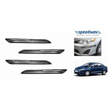 Speedwav Car Black Twin Chrome Bumper Scratch Protector-Volkswagen Vento