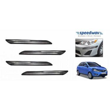 Speedwav Car Black Twin Chrome Bumper Scratch Protector- Tata Zest