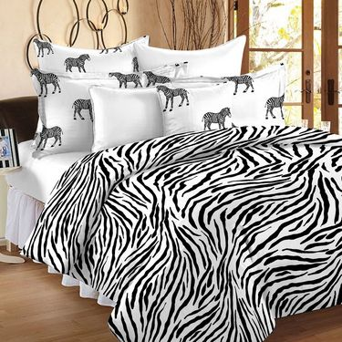 Story @ Home Printed Cotton Double Bed Sheet With 2 Pillow Covers-MT1203