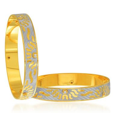 Sukkhi Angelic Gold and Rhodium Plated Bangles - White & Golden - 120DBV2400