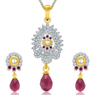 Sukkhi Dazzling Gold & Rhodium Plated Pendant Set - White & Golden - 4081PSKDV1250