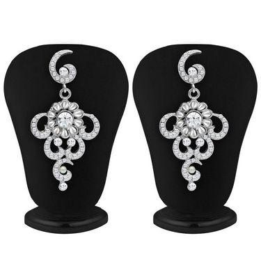 Sukkhi Glittery Rhodium Plated Necklace Set - White - 2126NADM1900