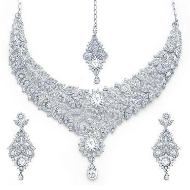 Sukkhi Youthful Rhodium Plated Necklace Set - White - 2128NADM1900