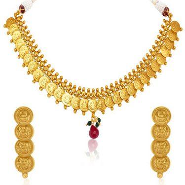 Sukkhi Moddish Gold Plated Necklace Set - Golden - 2148NGLDPL2500