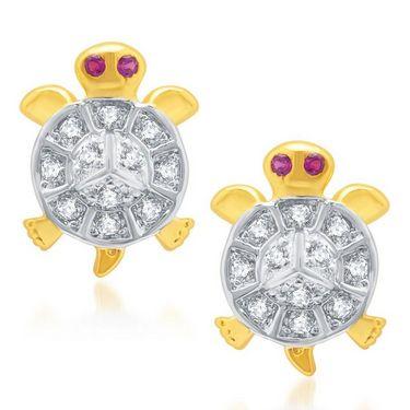Sukkhi Stylish Gold and Rhodium Plated Earrings - Golden & White - 172EARSDPVTS350