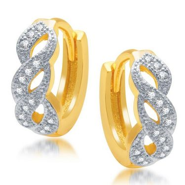 Sukkhi Marvellous Gold and Rhodium Plated Earrings - Golden & White - 186EARSDPVTS500