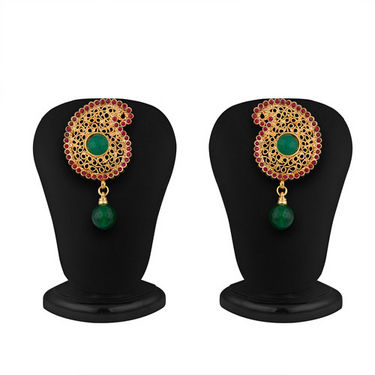 Sukkhi Pleasing Five String Gold Plated Emerald Studded Necklace Set