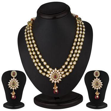 Sukkhi Stunning Hearts Gold Plated CZ Three String Rodo Light Necklace Set
