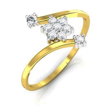 Avsar Real Gold & Swarovski Stone Patana Ring_T036yb