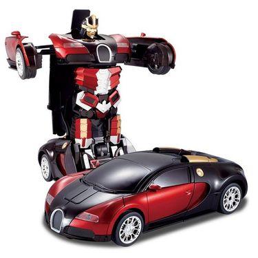 2 in1 Remote Control Robot cum Buggati Toy Car - Red