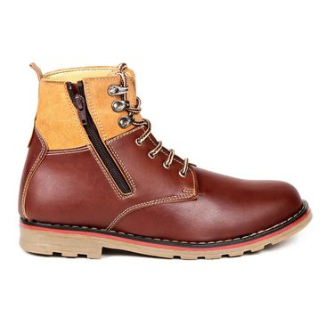 Faux Leather Brown Boots -T19