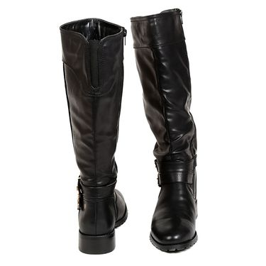 Leather Black Boots For Womens -tb18