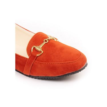 Ten Synthetic Leather Orange Loafers -ts239