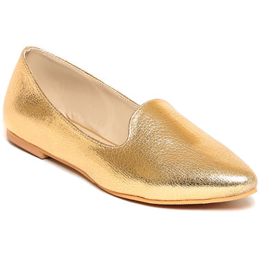Synthetic Leather Gold Loafers -lftjb-05Gld02