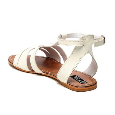 Synthetic Leather White Sandals -18Wht01