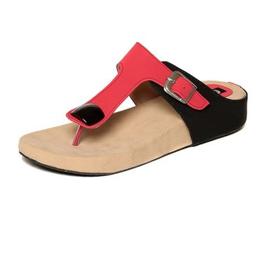 Synthetic Leather Black Slippers -549Blk01