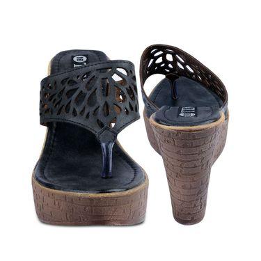 Ten Leather Black Heel Sandals  -ts62