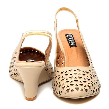 Synthetic Leather Beige Wedges -576Beg03