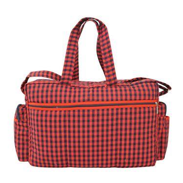Tumble Check Print Baby Diaper Bag ? Red