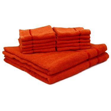 Story@Home Combo of 12 Pcs Bath & Face Towel 100% Cotton-Orange-TW12_2-05X_1-05S