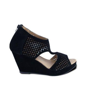 Ten Suede Leather Heels Wedges For Women_tenbl108 - Black
