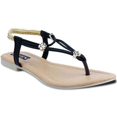 Ten Faux Leather Womes Sandals For Women_tenbl155 - Black