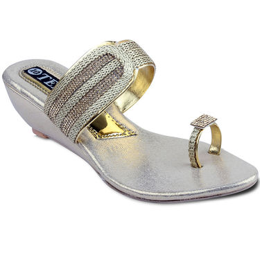 Ten Synthetic Sandals For Women_tenbl169 - Gold