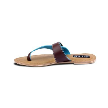 Ten Faux Leather Flat For Women_tenbl191 - Brown