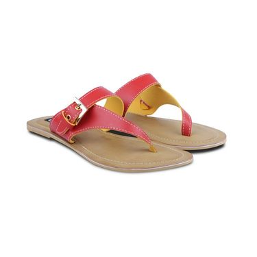 Ten Faux Leather Flats For Women_tenbl193 - Red