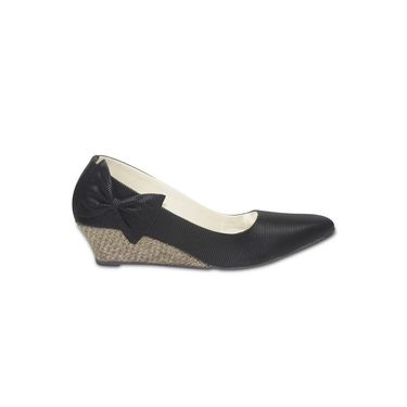 Ten Fabric Wedges For Women_tenbl230 - Black
