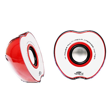 Terabyte TB-017R Apple Shaped Portable USB Speakers - Red & White