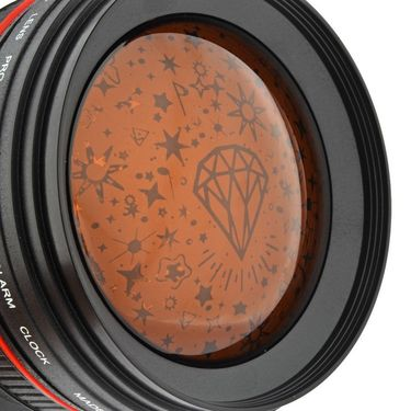 Camera Lens projector with Calendar Alarm Clock Night Lamp-Black-ULCALDALCL-BL