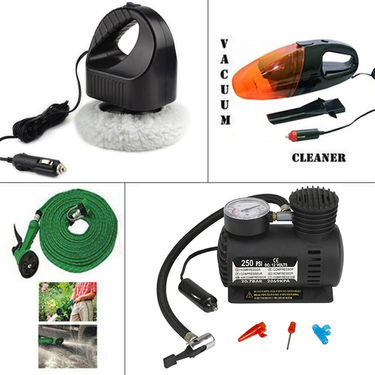 Combo of Vacuum Cleaner + Water Spray Gun + Air Compressor + Car Polisher