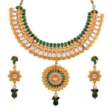 Variation Parrot Green Color Kundan Bridal Necklace_Vd13249