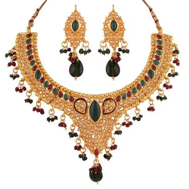 Variation Red & Green Traditional Polki Necklace Set_Vd13268