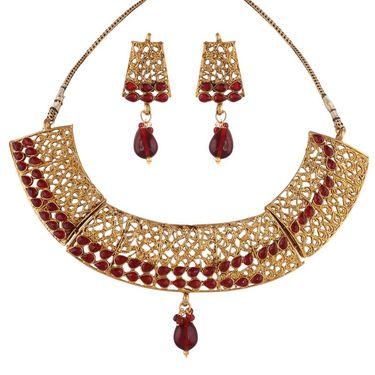 Variation Maroon Gold Plated Antique Necklace Set_Vd14005