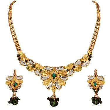 Variation Green Kundan Gold Plated Semi Necklace Set_Vd15745