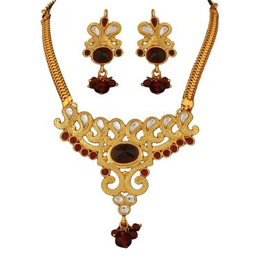Variation Maroon Kundan Gold Plated Necklace Set_Vd15747