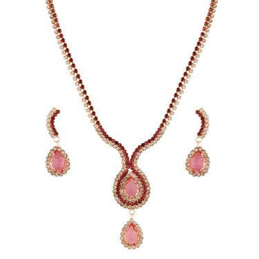 Variation Pink Long CZ Party Wear Necklace Set_Vd15759